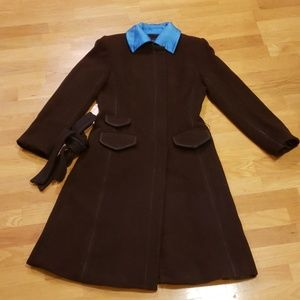 BCBG Brown Coat with Electric Blue Accents